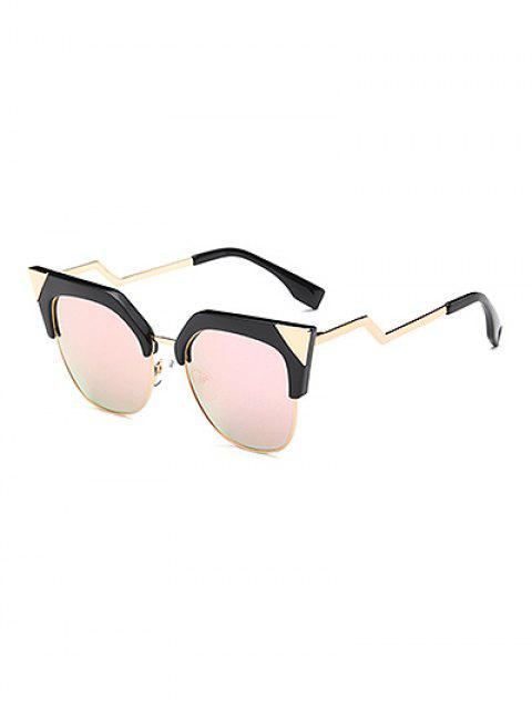 buy Triangle Zigzag Leg Cat Eye Mirrored Sunglasses - PINK  Mobile