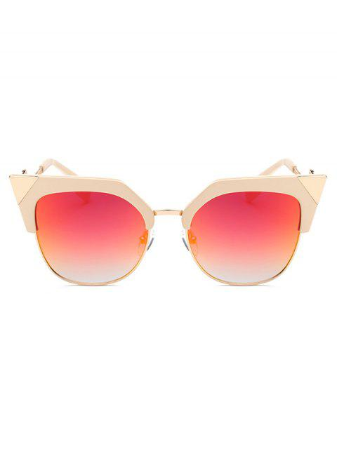 womens Triangle Zigzag Leg Cat Eye Mirrored Sunglasses -   Mobile