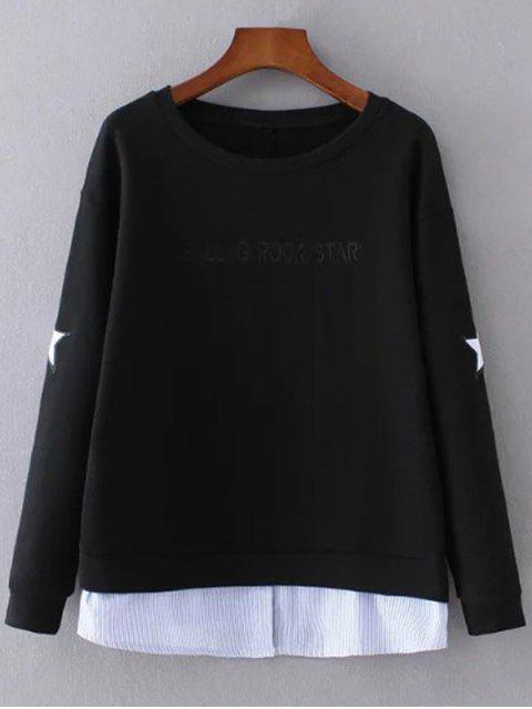 latest Star Pattern Layered Hem Sweatshirt - BLACK S Mobile