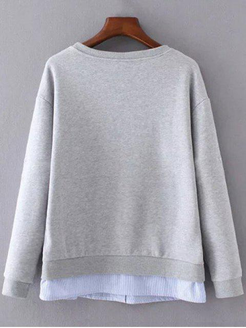 chic Star Pattern Layered Hem Sweatshirt - GRAY S Mobile
