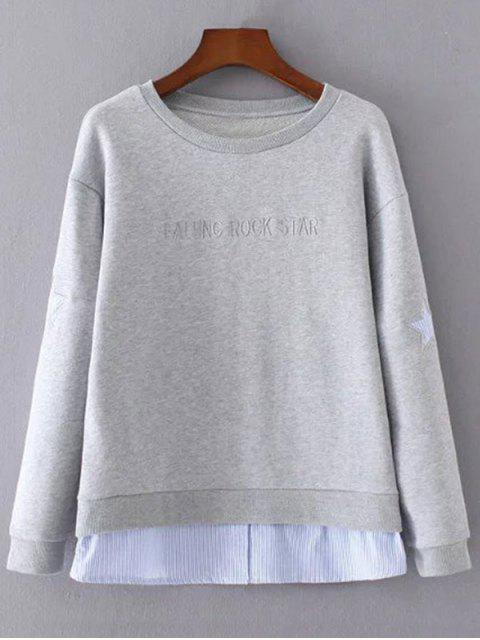 Star Pattern Layered Hem Sweatshirt - Grau S Mobile