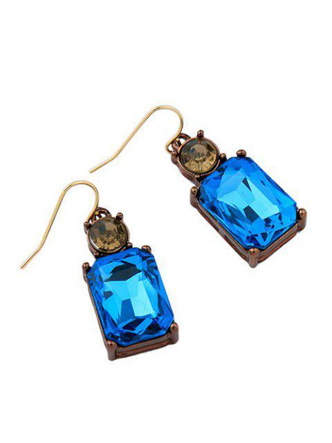 Boucles d'oreilles strass Carré Faux cristal - Bleu  Mobile