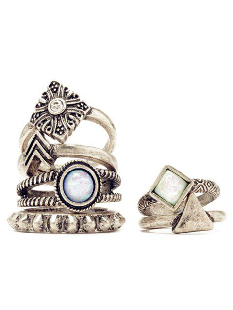 buy 6 PCS Tribal Geometry Retro Rings - SILVER  Mobile