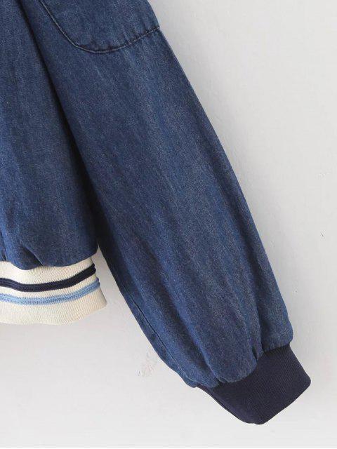 shops Button Back Denim Blouse - BLUE S Mobile