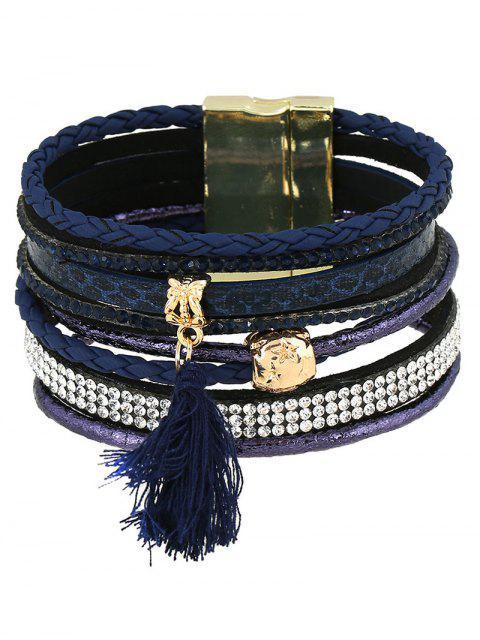 Bracelet Multi-couches à Glands en Strass et Similicuir - Bleu Foncé  Mobile