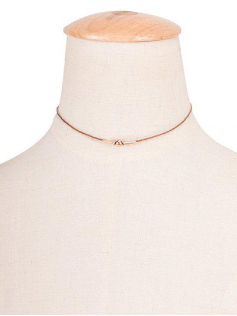Collier ras-de-cou Perle de Cuivre Corde Vintage - Brun  Mobile