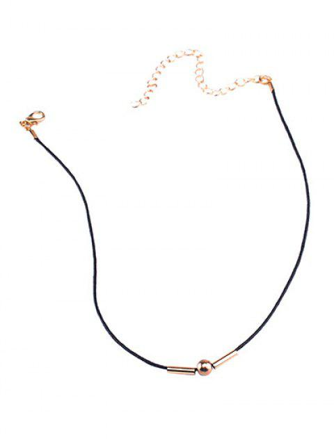 outfits Vintage Rope Copper Bead Choker Necklace - BLACK  Mobile