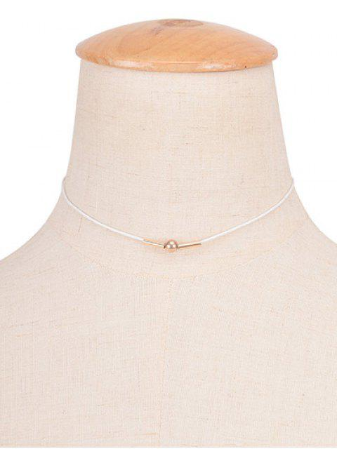 shop Vintage Rope Copper Bead Choker Necklace - WHITE  Mobile