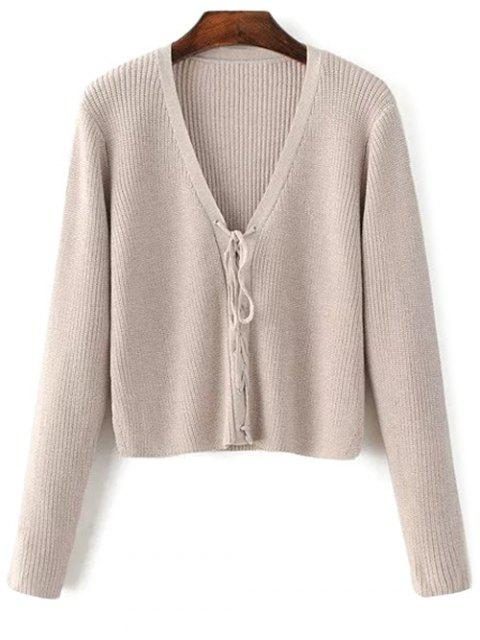 affordable Lace Up V Neck Sweater - COMPLEXION ONE SIZE Mobile
