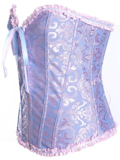 shops Slimming Zippered Waist Lace Up Corset - LIGHT BLUE L Mobile
