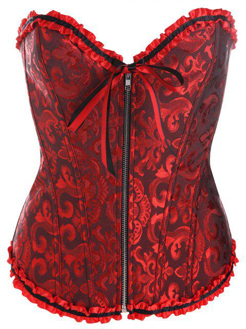 fashion Slimming Zippered Waist Lace Up Corset - DEEP RED XL Mobile