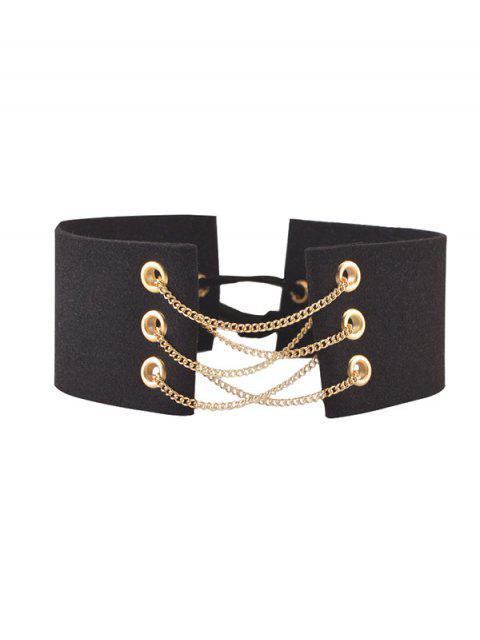 Ras-de-cou avec chaines velours faux cuir - Noir  Mobile