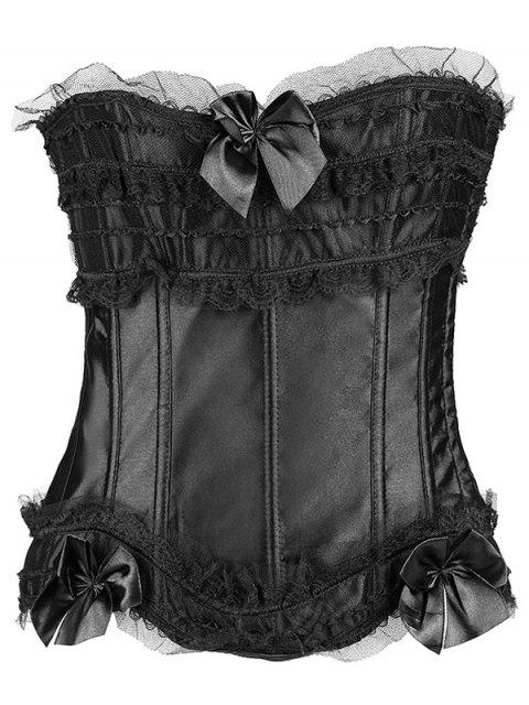 hot Slimming Bowknot Waist Lace Up Corset - BLACK 2XL Mobile
