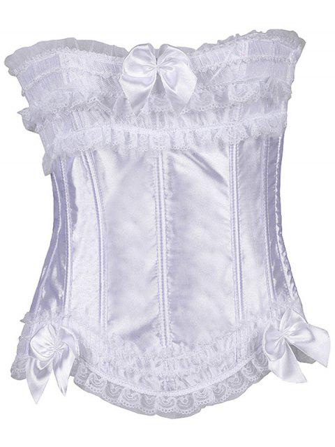 outfits Slimming Bowknot Waist Lace Up Corset - WHITE M Mobile