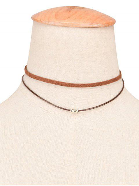 shop Faux Leather Rope Beaded Layered Choker -   Mobile