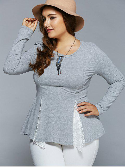 lady Plus Size Asymmetric Lace Spliced Blouse - LIGHT GRAY 5XL Mobile