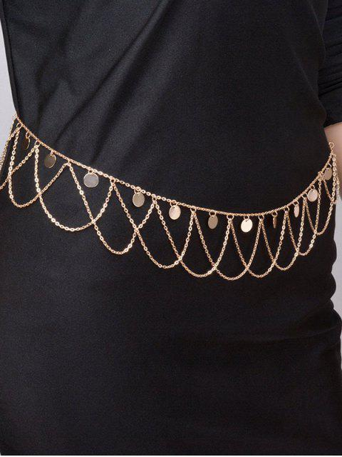 Round Belly Chain Paillettes Tassel Vague - Or  Mobile