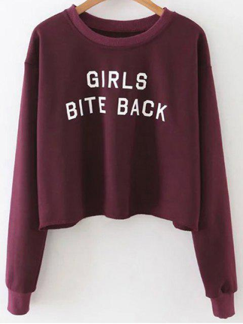 ladies Letter Print Crop Sweatshirt - WINE RED M Mobile