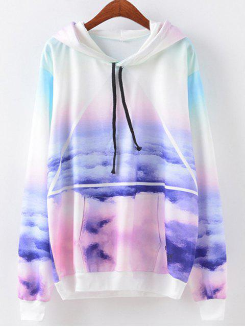 online Sky Print Drawstring Hoodie - COLORMIX S Mobile