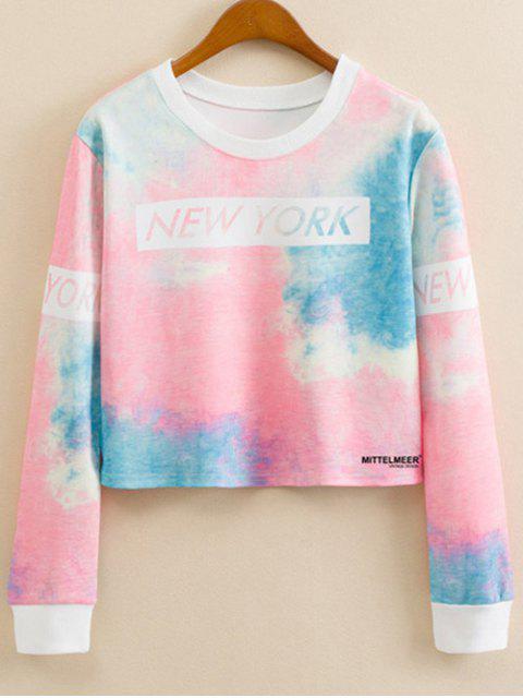 Sweatshirt imprimé de lettre tie dye - Multicolore M Mobile