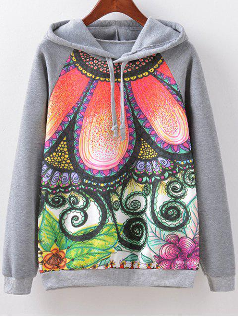 Hoodie Floral Drawstring - Gris L Mobile