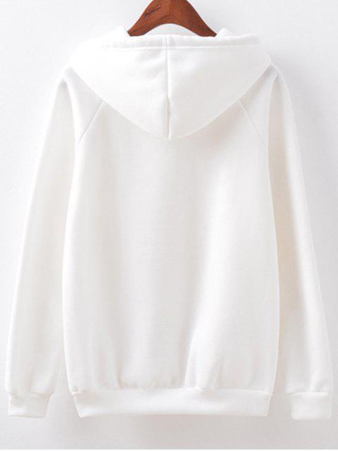 Drawstring Lettre Motif Hoodie - Blanc M Mobile