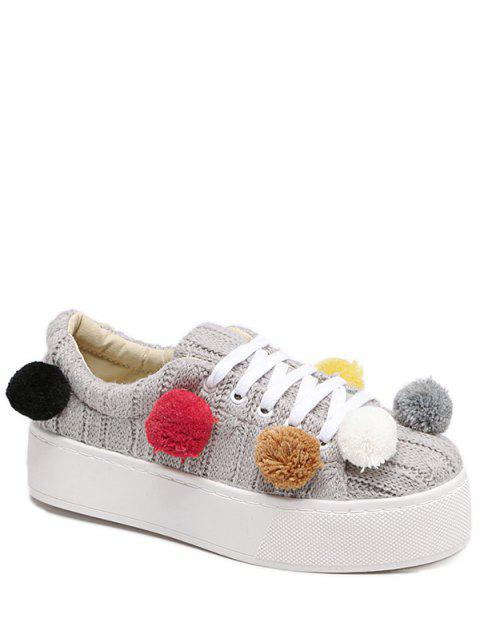 buy Pompoms Tie Up Knitting Platform Shoes - LIGHT GRAY 37 Mobile