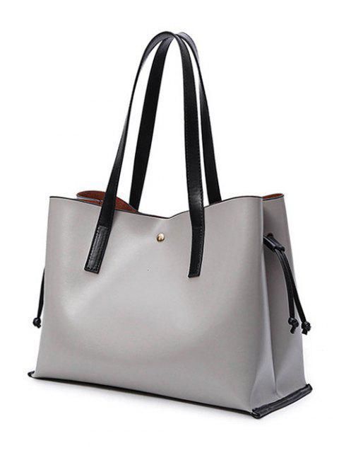 womens Drawstring Magnetic Closure PU Leather Shoulder Bag - GRAY  Mobile