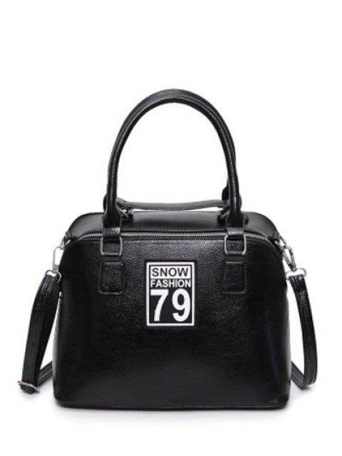 ladies Figure Pattern PU Leather Zipper Tote Bag - BLACK  Mobile
