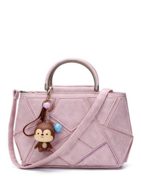 best Geometric Pattern PU Leather Metal Tote Bag - PINK  Mobile