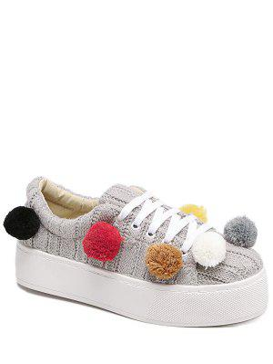 Pompoms Tie Up Knitting Platform Shoes