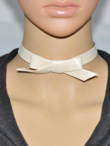 Buy Bowknot Faux Leather Choker - OFF-WHITE