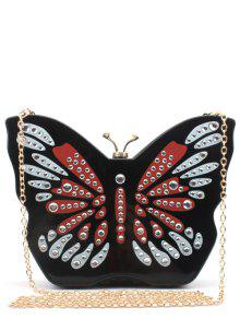 Buy Butterfly Shape Color Splicing Rhinestones Evening Bag - BLACK