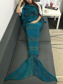 عالية الجودة سوبر لينة الكروشيه محبوك حورية البحر الذيل أريكة بطانية - ازرق غامق