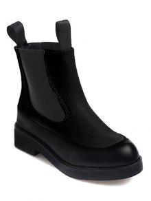 Buy Elastic Band PU Leather Platform Ankle Boots - BLACK 38