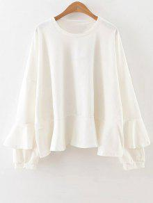 Buy Frilly Long Sleeve Top - WHITE S