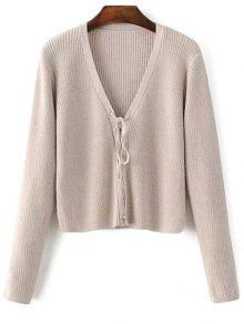 Lace Up V Neck Sweater - Complexion