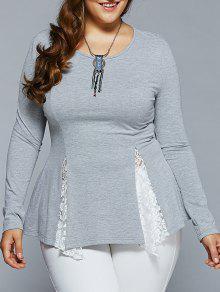 Plus Size Asymmetric Lace Spliced Blouse - Light Gray Xl