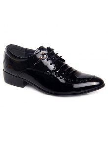 المعادن براءات الاختراع والجلود الدانتيل يصل الأحذية الرسمية - أسود 42
