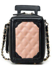 Luggage Shape Chain Argyle Pattern Crossbody Bag - PINKBEIGE