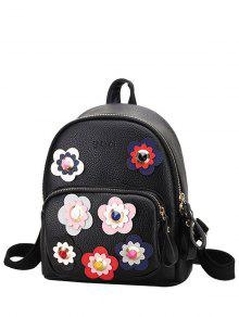 Buy Flowers Color Block Rivets Backpack - BLACK