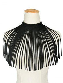 Faux Leather Rope Geometric Tassel Necklace - Black