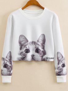 Cat Cartoon Imprimer Jewel Neck Sweatshirt - Blanc M