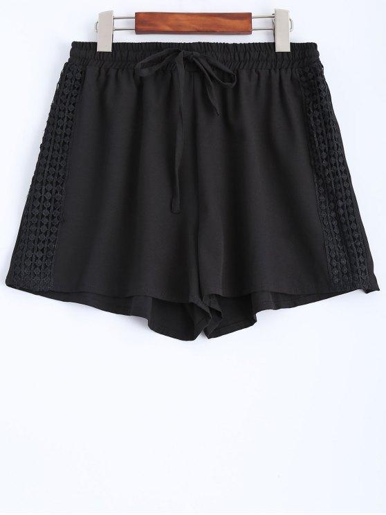 Negro empalmado del cordón mediados de cintura de cuerdas Pantalones cortos - Negro S