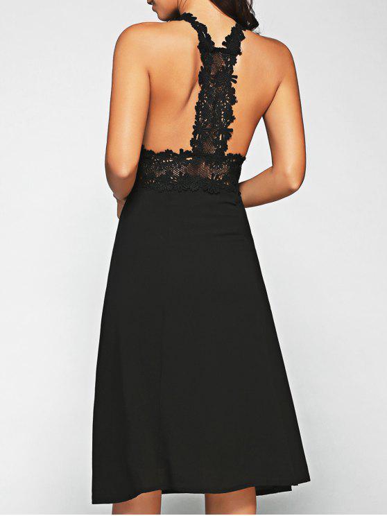 الفستان مع الرباط الطويل المنتصف بشكل الصدرية - أسود XL