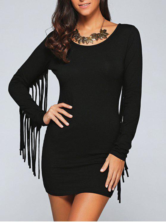 Vestido Ceñido con Fleco Largo - Negro 2XL