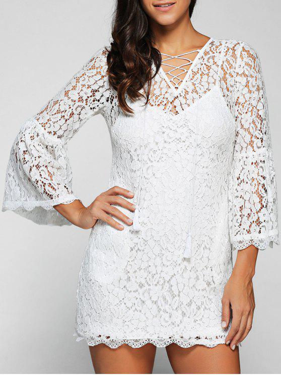 shop Cut Out V Neck Flare Sleeve Lace Dress with Cami Dress Twinset - WHITE 2XL