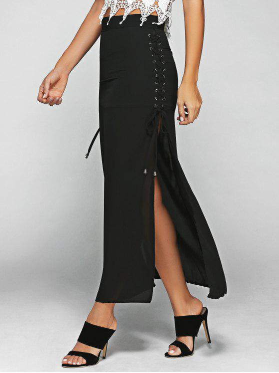 chic Lace-Up High Waist High Slit Skirt - BLACK S