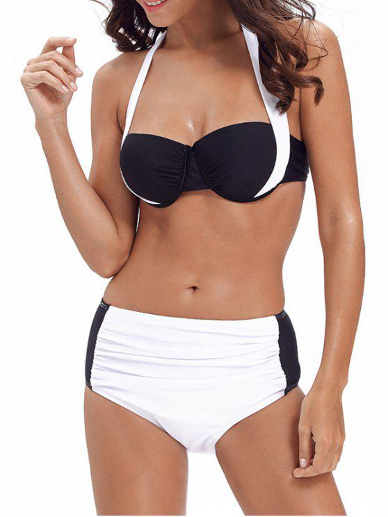 outfits Push Up Halter Color Block Bikini - WHITE 2XL
