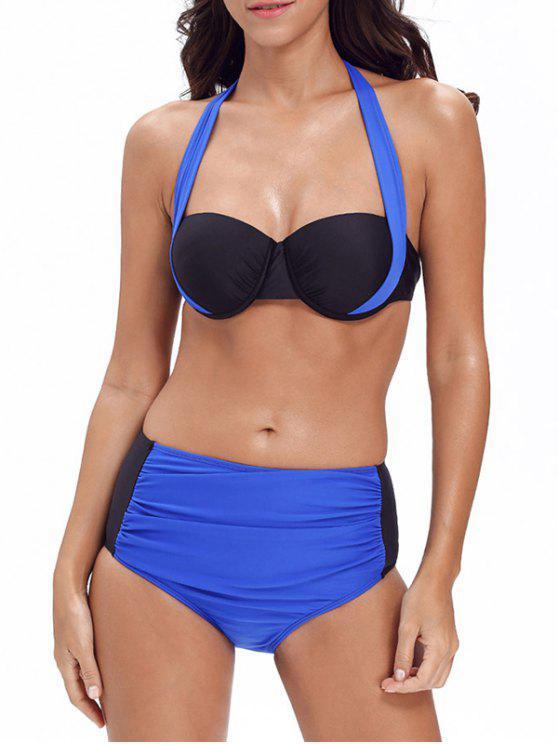 Bikinis push up color block à bretelles - Bleu L